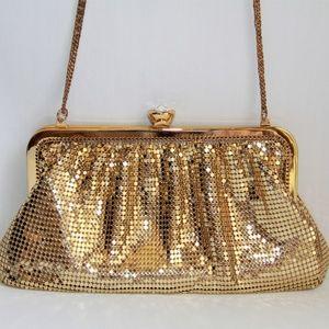 Whiting & Davis Bags - Vintage Whiting & Davis Gold Clutch Shoulder Bag